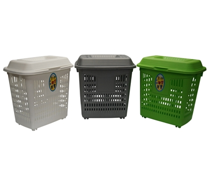 Lidded Plastic Frame Hamper With Wheels Dorm Hamper And