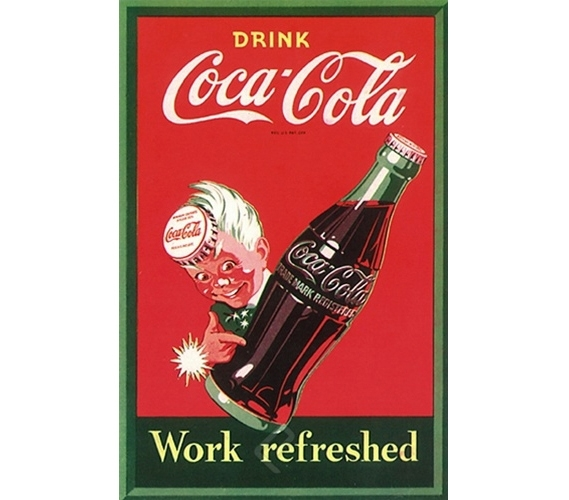 Classic Drink Coca Cola Work Refreshed Poster