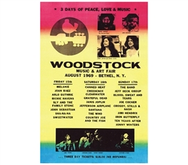 Great College Decoration - Woodstock Lineup Poster - Cool Classic Rock Poster