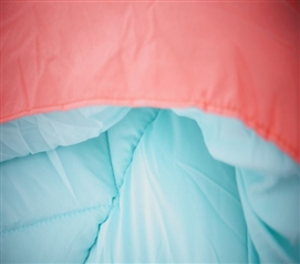 Fusion Coral/Bleached Aqua Reversible College Comforter - Twin XL Girls Dorm Bedding