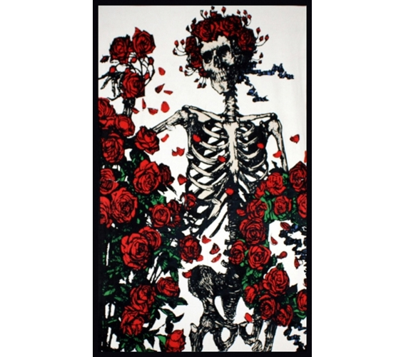 Enhance Dorm Decor Skeleton Roses Tapestry Cool Band