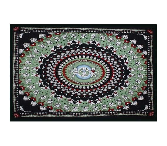 Enhance Bland Walls Bear Tapestry Black Green Make