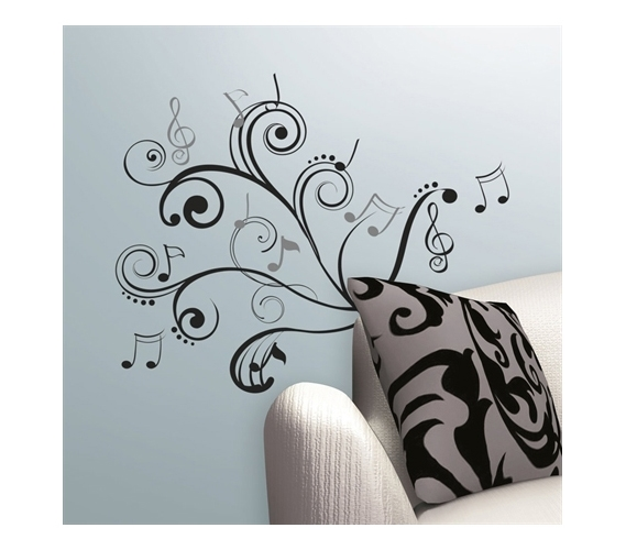Cool Music Wall Decor : Rhythm of music notes peel n stick dorm room wall