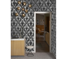 Damsel Metallic Silver Tempaper (Removable Wallpaper) Designer College Wall Paper