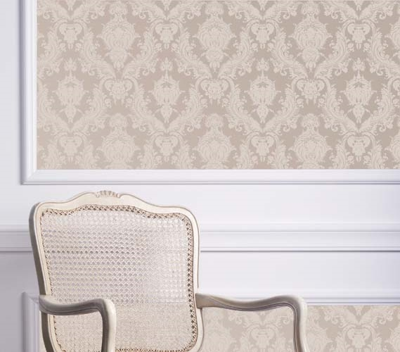 Damsel textured bisque designer removable wallpaper for Paintable peel n stick wallpaper