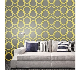 Honeycomb Citron Designer Removable Wallpaper