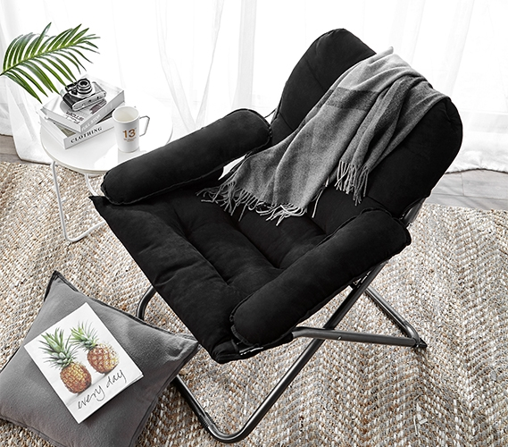 Great For Studying College Club Dorm Chair Plush & Extra Tall Black