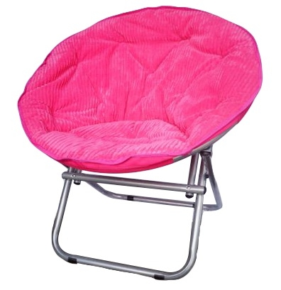 Comfy Corduroy Moon Chair Neon Candy Pink College Dorm