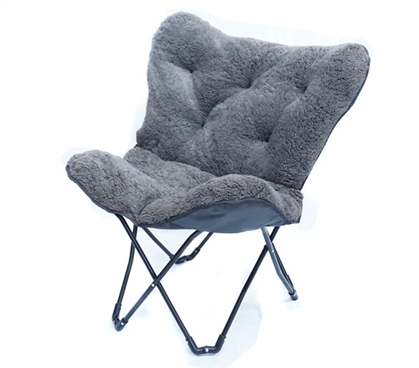 Overfilled Butterfly Chair Ultra Plush Dark Gray