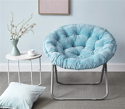 ... Dorm Room Seating Options - Comfort Padded Moon Chair - Sky Aqua