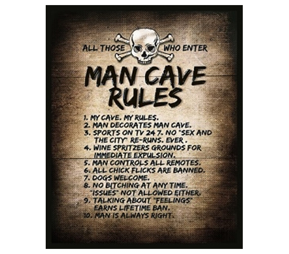 Sturdy And Humorous The Man Cave Rules College Guys