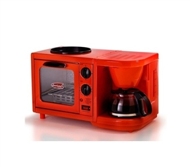 Easy Dorm Breakfasts - 3-in-1 Multifunction Breakfast Deluxe - Red - Cool College Appliance