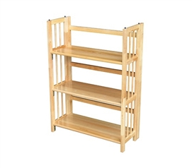 3 Tier Folding/Stackable Bookcase - Natural Wood Beauty Storage Shelf