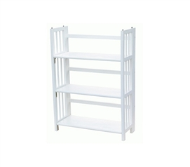 3 Tier Folding/Stackable Bookcase - White College Organizer