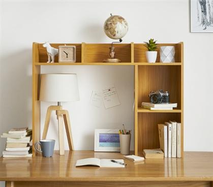 Classic Dorm Desk Bookshelf Beech Natural Wood