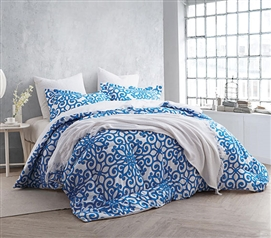 College Bedding Essentials - Crystalline Blue Twin XL Comforter Set - College Ave - 100 Percent Cotton