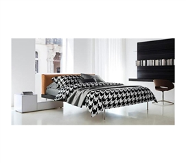 Twin XL Bedding - Houndstooth Black And White Cotton Twin XL Comforter - College Ave