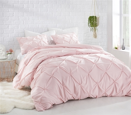 Rose Quartz Pin Tuck Full Comforter Oversized Full Xl Bedding
