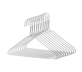 Keep Clothes Off The Floor - Chrome Steel Hangers - 10 Pack - Keep Closets Organized