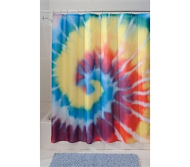 Cool Decor Item For Bathrooms - Tie Dye Shower Curtain - Fun Looking College Decor