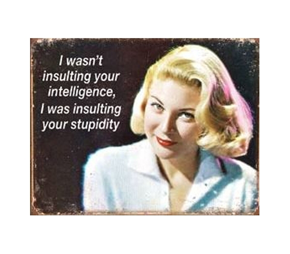 Decorate Your Dorm Room Insulting Intelligence Tin Sign