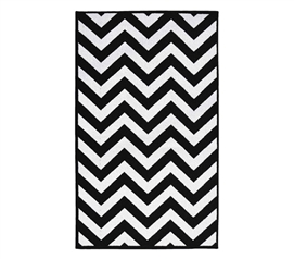 Black And White Dorm Decorating - Chevron College Rug - Black and White