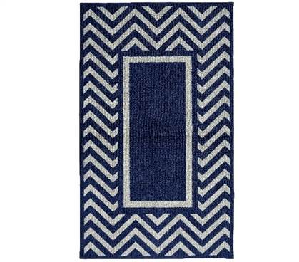 Chevron Frame College Rug Navy And Silver Dorm Rug