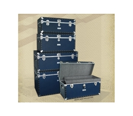 Seward Classic Style Dorm Room Trunk Collection - Navy Blue