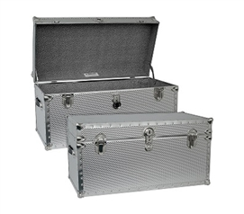 Steel College Dorm Room Trunk - Heavy Duty Footlocker