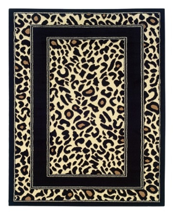 Black Border Leopard Print Dorm Rug College Dorm Decor