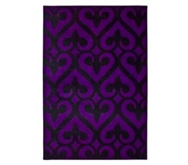 Necessary Dorm Item - Fleur-de-lis Rug - Black and Purple - Items For College Students