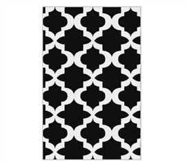 Quatrefoil College Rug - Black and White - Decorations For Dorms Are Needed