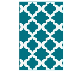 More Color And Design For Dorms - Quatrefoil College Rug - Teal and White - Adds Decor