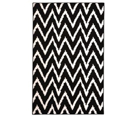 Rugs Are Reusable - Wavy Chevron Dorm Rug - Black and White - Add Cool Design