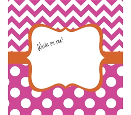 Fun Dorm Decor - Canvas Kudos - Signable Wall Canvas - Whimsical Bright Pink And Orange