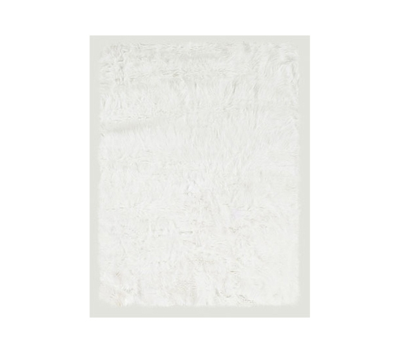 White Faux Sheepskin College Dorm Rug