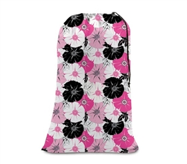 Beautifully Majestic Pink Flowers - College Girl Laundry Bag - Pink & Black Floral