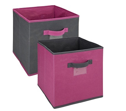 Must Have College Dorm Room Collapsible Storage Cube - Pewter & Orchid