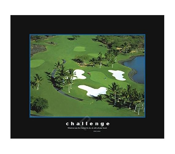 Challenge Golf Course College Dorm Poster Motivational
