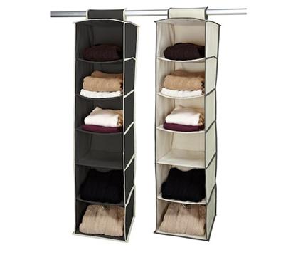gray and cream 6 shelf hanging sweater organizer complete closet rh dormco com hanging sweater shelves whitmor hanging sweater shelves
