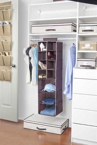 3 Shelf 8 Pocket Closet Organizer Chocolate Cream