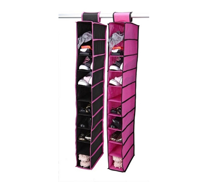 Hang Shoes And Other Dorm Supplies - Black & Fuchsia 10 Shelf Shoe Organizer - Keep Dorm Room Clutter-Free