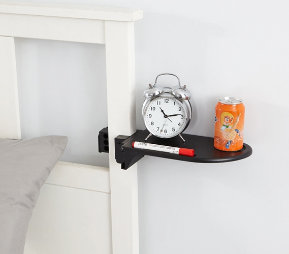 Bed post shelf keeps college stuff handy when you need it