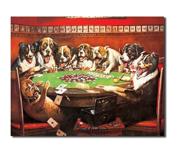 Tin sign dorm room decor gambling dogs colorful for Decoration poker