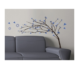 Blue Branches - Dorm Room Wall Decor Peel N Stick Decorative College Wall Art