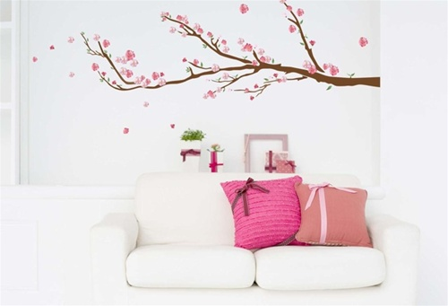 cherry blossoms peel n stick removable dorm decor. Black Bedroom Furniture Sets. Home Design Ideas