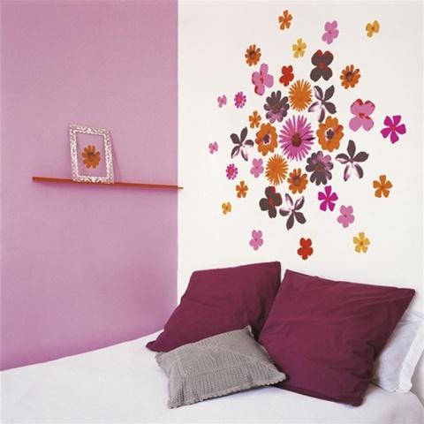 pop flowers peel n stick. Black Bedroom Furniture Sets. Home Design Ideas