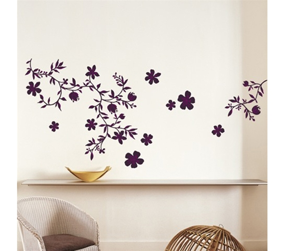 midnight purple floral college dorm peel n stick. Black Bedroom Furniture Sets. Home Design Ideas