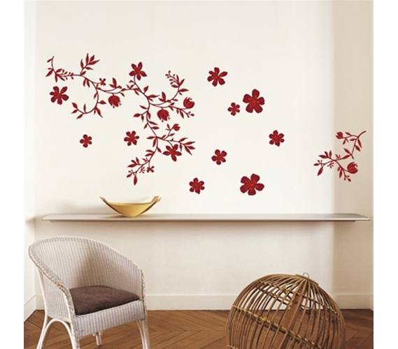 Floral red dorm room wall decor peel n stick College dorm wall decor