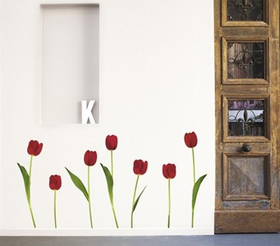 red tulips peel n stick. Black Bedroom Furniture Sets. Home Design Ideas